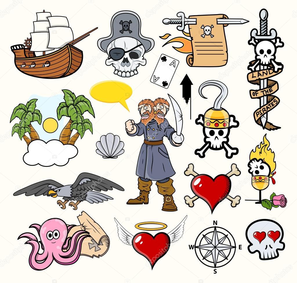 海盗卡通矢量 — 图库矢量图像08