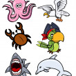 Various Sea Creatures - Cartoon Vector Illustration — Stock Vector #29939313
