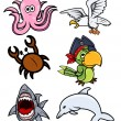Various Sea Creatures - Cartoon Vector Illustration — Stock Vector
