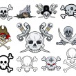 Set of Danger Skulls Vector Illustrations — Stock Vector