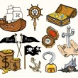 Pirates and Stuff - Cartoon Vector Illustration — Stock Vector