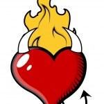 Devil Heart with Fire - Vector Illustration — Stock Vector
