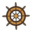 Old Ship Wheel - Vector Illustration — Stock Vector