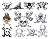 Set of Danger Skulls Vector Illustrations — Stock Vector
