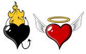 Coração de anjo e mal - ilustração vetorial — Vetor de Stock