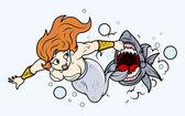Shark Attack to Mermaid Under Sea - Vector Illustration — Stock Vector