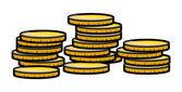 Stack di moneta d'oro - illustrazione vettoriale — Vettoriale Stock