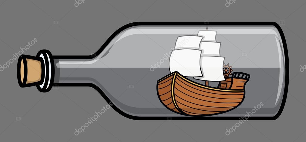 Sailing Ship Cartoon Drawing Art of Cartoon Vintage Pirate Sailing Ship in Glass Bottle Vector