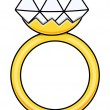 Diamond Ring - Cartoon Vector Illustration — Stok Vektör