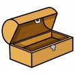 Empty Treasure Box - Cartoon Vector Illustration — Stock Vector