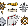 Ancient Ship Icons - Cartoon Vector Illustration — Stock Vector