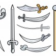 Постер, плакат: Swords and Weapons Cartoon Vector Illustration