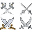 Crossed Swords Set - Cartoon Vector Illustration — Stock Vector