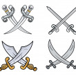 Crossed Swords Set - Cartoon Vector Illustration — Stockvektor