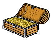 Ancient Gold Coin Filled Box - Cartoon Vector Illustration — Stock Vector