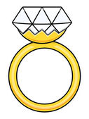 Diamond Ring - Cartoon Vector Illustration — Stock Vector