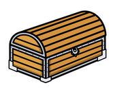 Starożytny skarb drewniany kufer - ilustracja kreskówka wektor — Wektor stockowy