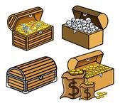 Kofferbak en dozen van treasure en schedels - cartoon vectorillustratie — Stockvector