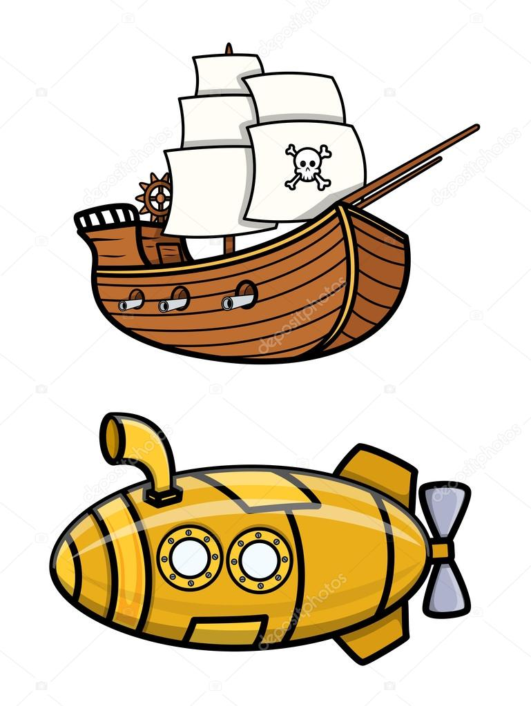 Download - Old Pirate Ship and Submarine - Cartoon Vector Illustration ...