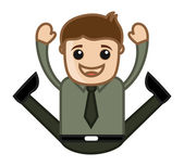 Very Excited Jumping Man - Office Corporate Cartoon People — Stock Vector