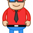 Man Wearing 3d Glasses - Office Corporate Cartoon People — Stock Vector