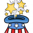 Magical Uncle Sam Hat - 4th of July Vector Illustration — Stock Vector