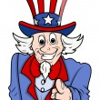 I want you - Uncle sam pointing fingure to the viewer — Stock Vector