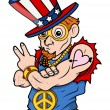 Stylish Uncle Sam - Peace & Victory - 4th of July Vector Illustration — Stock Vector