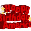 Happy Birthday America Greeting Text Vector — Stock Vector
