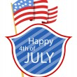 Happy 4th of july shield with banner — Imagen vectorial