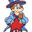 Uncle Sam Vector - Holding a Star on 4th of july — Stock Vector #30783119