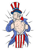 Superhero Uncle Sam Showing Chest - 4th of July Vector Illustration — Stock Vector