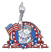 Patriotic 4th of july vector - statue of liberty — Stock Vector