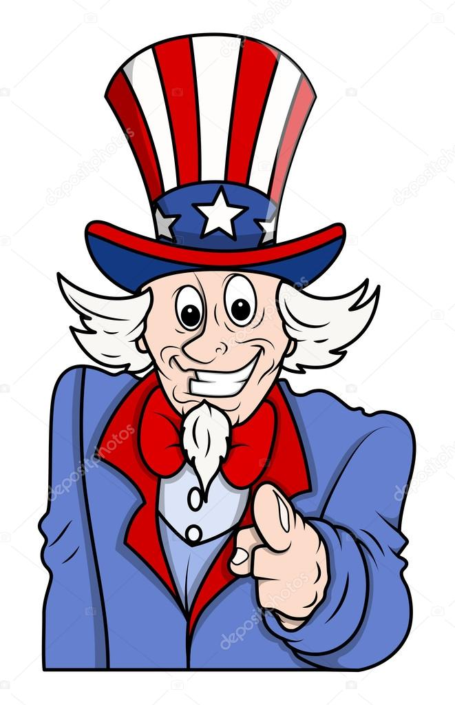 Uncle Sam Carto... Uncle Sam Full Body Black And White