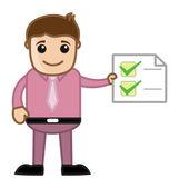 Work Done - Man Holding a Checklist - Business Cartoon — Stock Vector