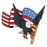 Bald Eagle with American Flag - Patriotic Vector — Stock Vector #30895323