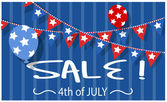4th of july sale vector background — Stock Vector
