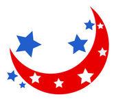 Moon and Stars - USA theme Design Vector — Stock Vector