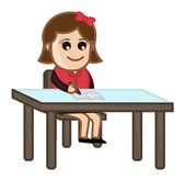 Girl Studying - Cartoon Business Vector Illustrations — Stock Vector