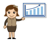Woman Showing Company Stats - Cartoon Business Vector Illustrations — Stock Vector
