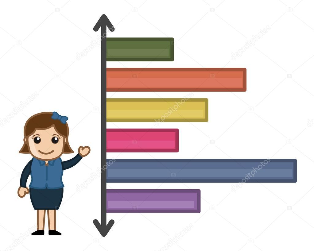 estadísticas de gráfico de negocios varias veces - dibujos animados