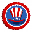 4th of july - uncle sam hat badge — Stock Vector
