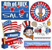 4th of july vector pack — Stock Vector