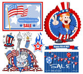 Vector designs set for america independence day — Stock Vector