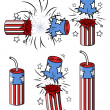 Various firecrackers - 4th of july vector illustration — Stock vektor