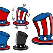 Uncle sam hat set - 4th of july vector illustration — Stock Vector #30971203
