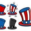 Uncle sam hat set - 4th of july vector illustration — Stock Vector