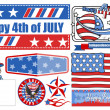 4th of July Celebration - Vector Designs Set — Stock Vector