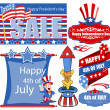 4th of july banner and various designs vector set — Stock Vector