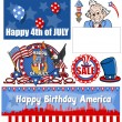 Happy 4th of july vector set — Stock Vector